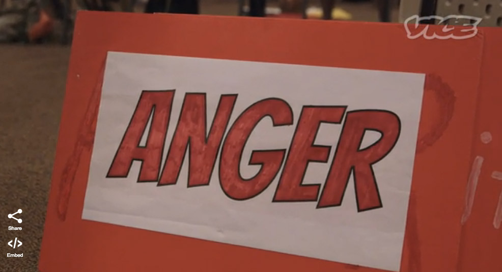 "Sign that says ""anger"" as part of a documentary on ""gay conversion therapy"""